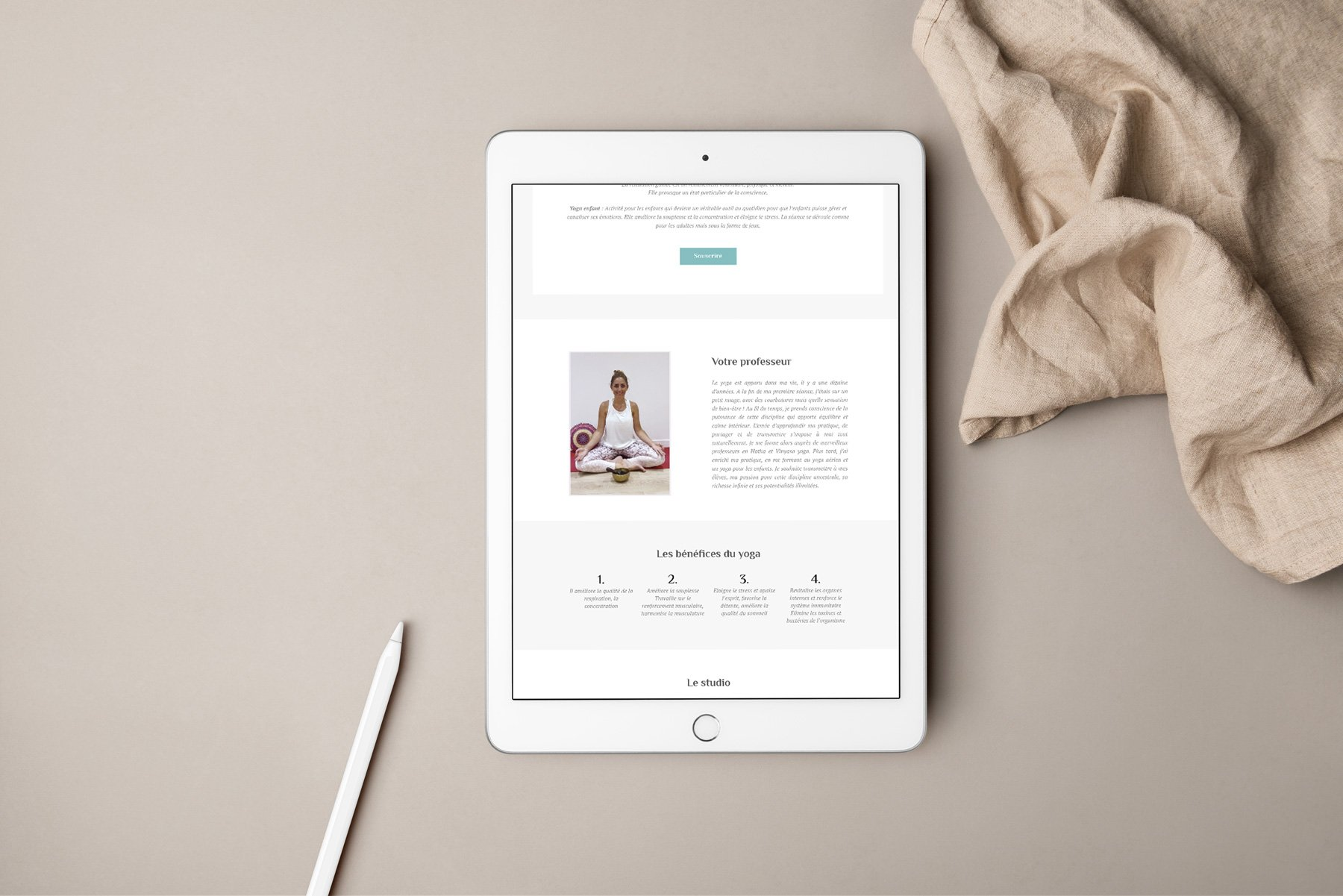 Aperçu site internet studio de yoga
